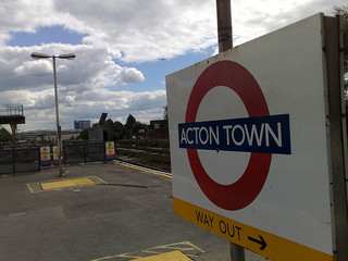 Sign of acton underground station