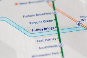 close up of putney on the tube map
