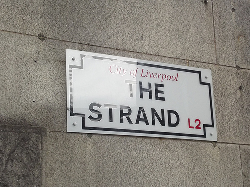 London to Liverpool removals, The Strand sign